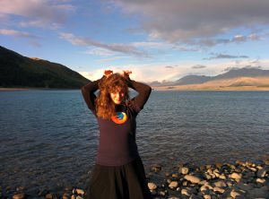 Stephanie with her Firefox ears, on Lake Tekapo