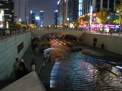 The daylighted river by night